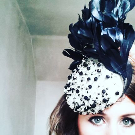 Black Angled Feather Headpiece