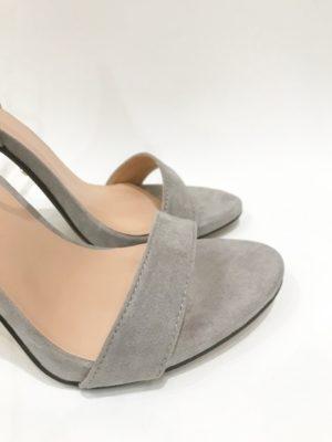 Grey Suede Ankle Strap Heels
