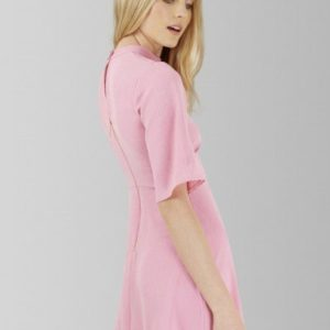Pink High Collar Dress