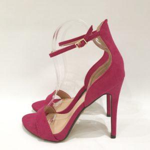 Pink Suede Ankle Strap Heels