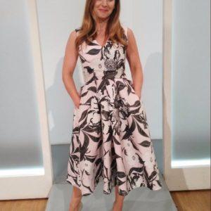 Pink Pleat Print Dress