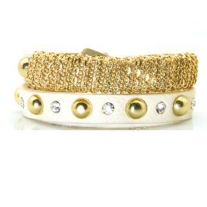 Cream Studded Wrap Bracelet