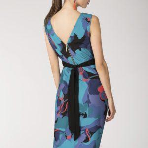 Contrast Printed Draped Midi Dress