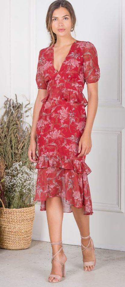 c92c124cbd9a Red Floral Peplum Tea Dress – Divine Boutique